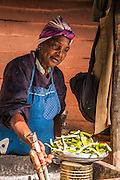 woman sells food at a stall Viñales Valley, (Vinales) Cuba