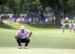 May 26, 2018 - Fort Worth, TX, USA - Jon Rahm lines up his final put of the day during the Fort Worth Invitational Golf Tournament at Colonial Country Club Saturday May 26, 2018 in Fort Worth, Texas. (Credit Image: © Bob Booth/TNS via ZUMA Wire)