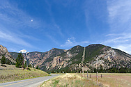 The Crowsnest Highway (Hwy 3) just outside the town of Hedley, British Columbia, Canada