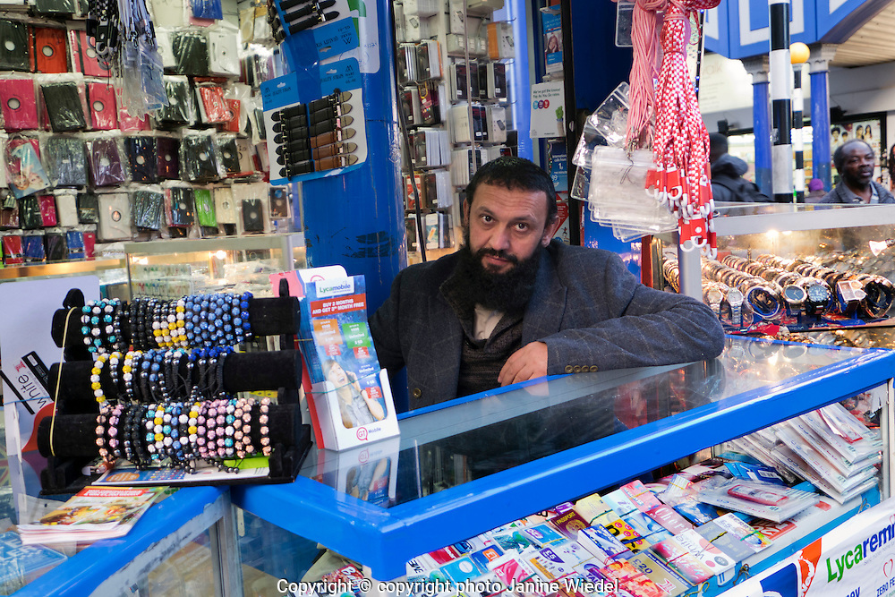 Stand selling mobile phone accessories in Streets of Brixton South London