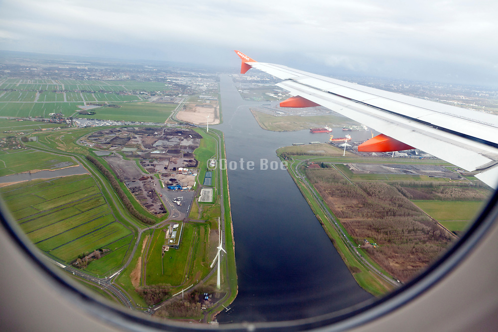 aerial view just before landing at Schiphol airport Amsterdam Holland