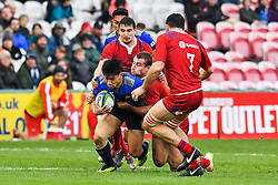 Timothy Lafaele of Japan  is tackled by Vasily Dorofeev of Russia <br /> <br /> Photographer Craig Thomas<br /> <br /> Japan v Russia<br /> <br /> World Copyright ©  2018 Replay images. All rights reserved. 15 Foundry Road, Risca, Newport, NP11 6AL - Tel: +44 (0) 7557115724 - craig@replayimages.co.uk - www.replayimages.co.uk