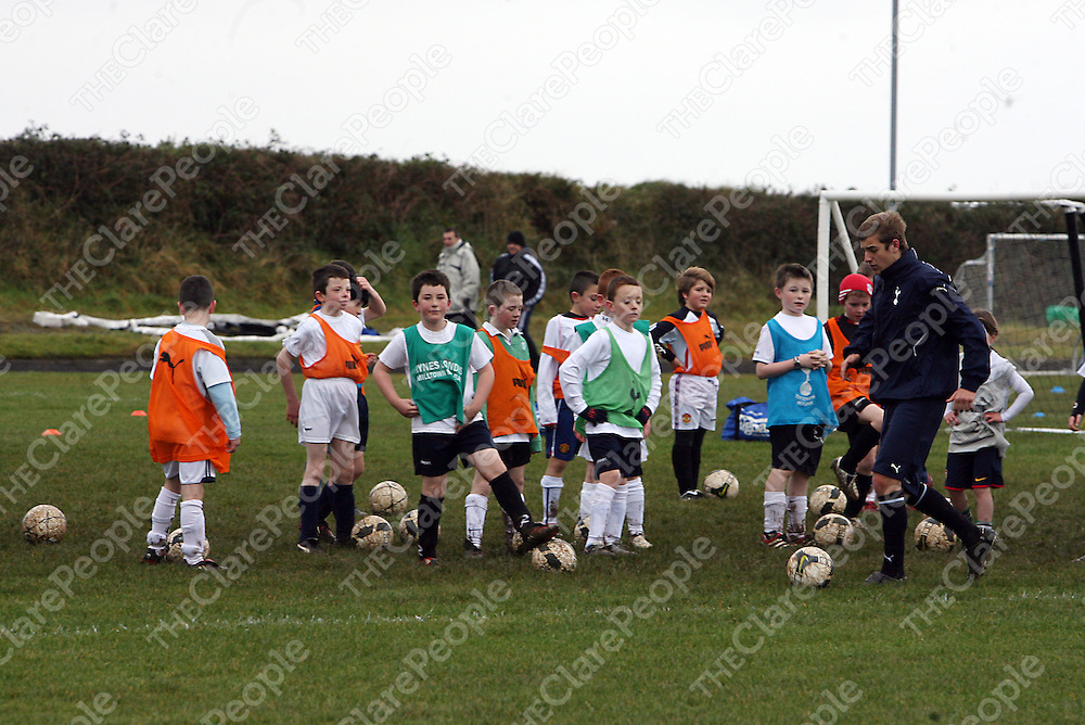 Spurs football development coach Joe Staunton during a coaching session in Mullagh by visitors Tottenham Hotspurs organised by West Clare F.C at the weekend.<br /> Photograph by Yvonne Vaughan