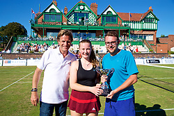 LIVERPOOL, ENGLAND - Sunday, June 24, 2018: Tournament director Anders Borg with Amy Griffiths and Adam Owen, Widnes Tennis Academy with the Chavasse Cup during day four of the Williams BMW Liverpool International Tennis Tournament 2018 at Aigburth Cricket Club. (Pic by Paul Greenwood/Propaganda)