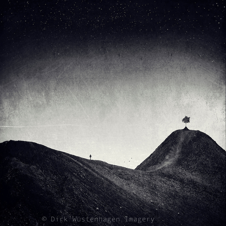 Surreal landscape. Shot in the volcanic wasteland in the south of La Palma. <br /> Manipulated photograph.