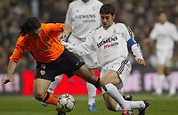 15/2/2004 Madrid, Spain.<br />La Liga (Spanish League), stage 24.<br />R.Madrid 1 - Valencia 1<br />R.Madrid's Raul in duel with Valencia's Ayala at Santiago Bernabeu's Stadium.<br />© 2004 Alejandro leon Fernandez