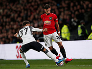Jayden Bogle of Derby County challenges Bruno Fernandes of Manchester United during the FA Cup match at the Pride Park Stadium, Derby. Picture date: 5th March 2020. Picture credit should read: Darren Staples/Sportimage