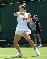 Tennis - 2019 Wimbledon Championships - Week One, Monday (Day One)<br /> <br /> Women's Singles, 1st Round: <br /> Bernarda Pera (USA) v Maria Sakkari (GRE) on Court 15.<br /> <br /> Maria Sakkari (GRE)<br /> <br /> COLORSPORT/ANDREW COWIE