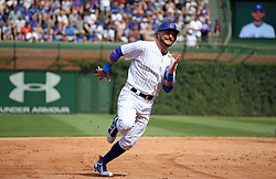 August 20, 2017 - Chicago, IL, USA - Chicago Cubs center fielder Albert Almora Jr. (5) runs to third base in the fifth inning against the Toronto Blue Jays on Sunday, Aug. 20, 2017 at Wrigley Field in Chicago, Ill. (Credit Image: © Brian Cassella/TNS via ZUMA Wire)