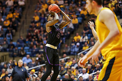 Mar 20, 2019; Morgantown, WV, USA; Grand Canyon Antelopes forward Oscar Frayer (4) shoots during the second half against the West Virginia Mountaineers at WVU Coliseum. Mandatory Credit: Ben Queen