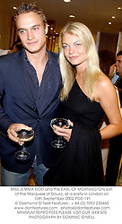 MISS JEMMA KIDD and the EARL OF MORNINGTON son of the Marquess of Douro, at a party in London on 10th September 2002.PDD 191