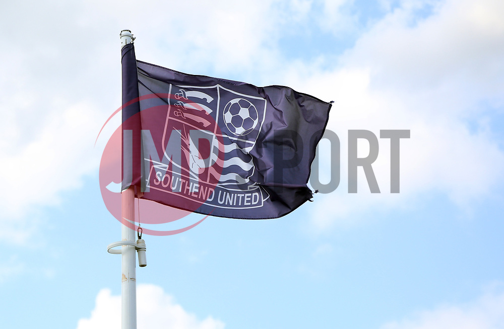 A general view of a Southend United flag flying outside of Roots Hall - Mandatory by-line: Joe Dent/JMP - 20/08/2019 - FOOTBALL - Roots Hall - Southend-on-Sea, England - Southend United v Peterborough United - Sky Bet League One