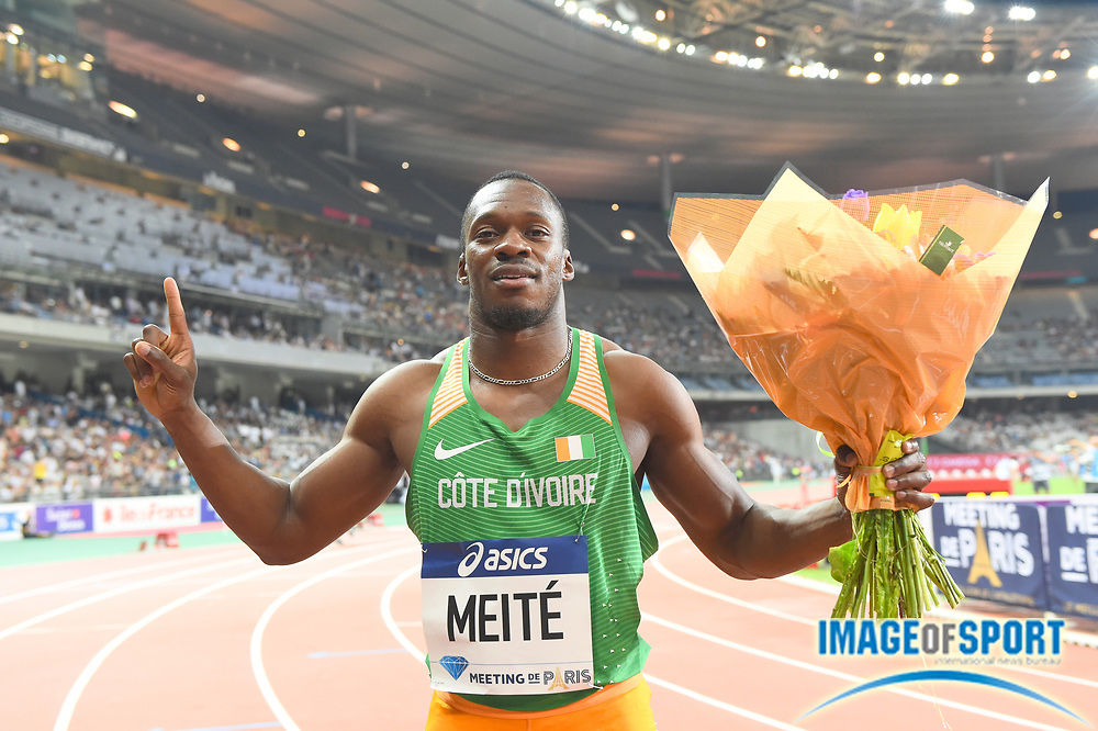 Ben Youssef Meite (CIV) poses after winning the 100m in 9.96 during the Meeting de Paris in an IAAF Diamond League track and field meet at Stade de France in Saint-Denis, France on Saturday, Aug. 28, 2016. Photo by Jiro Mochizuki