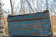 Superior Hiking Trail sign, photographed on a cold January morning; Grand Marais, Minnesota, USA