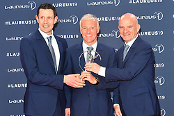 February 18, 2019 - Monaco, Monaco - (L-R) Dider Deschamps, Franck Raviot and Guy Stephanon arriving at the 2019 Laureus World Sports Awards on February 18, 2019 in Monaco  (Credit Image: © Famous/Ace Pictures via ZUMA Press)