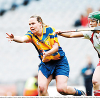 9 September 2007; Catherine O'Loughlin, Clare, in action against Claire Doherty, Derry. Gala All-Ireland Junior Camogie Final, Clare v Derry, Croke Park, Dublin. Picture credit; Paul Mohan / SPORTSFILE