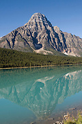 10,793 foor Howse Peak reflected in Lower Waterfowl Lake on the Icefield Parkway from Lake Louise to Jasper.Banff National Park, Canada..