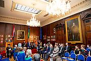 Koning Willem Alexander en koningin Maxima hebben een ontmoeting met Ontmoeting met Lord Mayor Dublin in het Mansion House tijdens de tweede dag van het staatsbezoek aan Ierland. <br /> <br /> King Willem Alexander and Queen Maxima met with Meeting with Lord Mayor Dublin at the Mansion House during the second day of the state visit to Ireland.