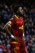 Gael Bigirimana of Motherwell is shown the red card following a handball in the area during the Ladbrokes Scottish Premiership match between Rangers and Motherwell at Ibrox, Glasgow, Scotland on Sunday 11th November 2018.