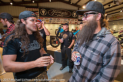 Show particpants Brad Gregory and Mikey Revolt Arnold at the Old Iron - Young Blood exhibition media and industry reception in the Motorcycles as Art gallery at the Buffalo Chip during the annual Sturgis Black Hills Motorcycle Rally. Sturgis, SD. USA. Sunday August 6, 2017. Photography ©2017 Michael Lichter.