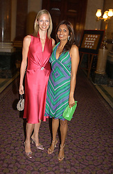 Left to right, DARCEY VIGORS and DIVIA LALVANI at a fashion show and dinner hosted by Shangri-la Hotels and Resorts and Andy Wong featuring fashion by new designer Lu Kun held at The Goldsmiths Hall, Foster Lane, London on 25th April 2005.<br /><br />NON EXCLUSIVE - WORLD RIGHTS