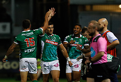 Benetton Treviso players celebrate the win<br /> <br /> Photographer Simon King/Replay Images<br /> <br /> Guinness PRO14 Round 1 - Dragons v Benetton Treviso - Saturday 1st September 2018 - Rodney Parade - Newport<br /> <br /> World Copyright © Replay Images . All rights reserved. info@replayimages.co.uk - http://replayimages.co.uk