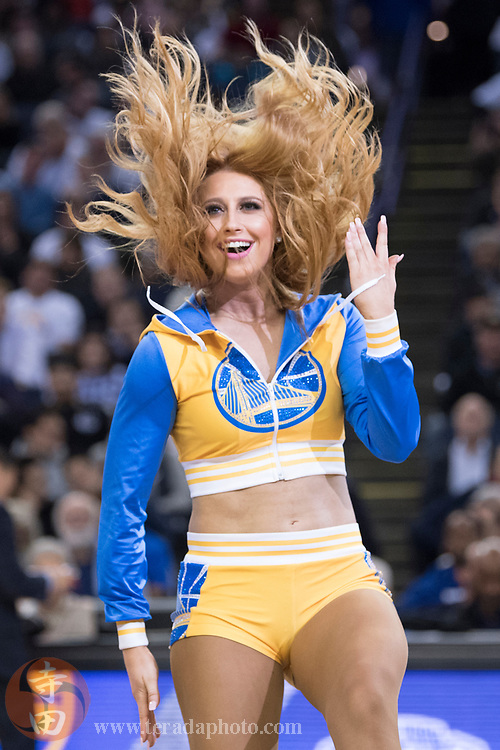 January 23, 2018; Oakland, CA, USA; Golden State Warriors Dance Team dancer Madison during the third quarter against the New York Knicks at Oracle Arena. The Warriors defeated the Knicks 123-112.