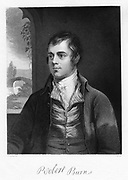 Robert Burns (1759-176) Scottish poet, late 18th century. At the centre left is the Bridge of Doon which features in his poem 'Tam o' Shanter' (1791). Engraving.
