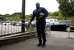 Adebayo Akinfenwa of Wycombe Wanderers Marc Bola of Bristol Rovers and Ryan Broom of Bristol Rovers arrive at Adam's Park for the Checkatrade Trophy Match against Bristol Rovers - Mandatory by-line: Robbie Stephenson/JMP - 29/08/2017 - FOOTBALL - Adam's Park - High Wycombe, England - Wycombe Wanderers v Bristol Rovers - Checkatrade Trophy