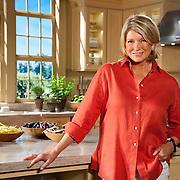 """Martha Stewart on the set of """"Martha Stewart Cooking School""""."""