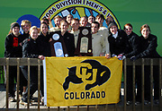 The Colorado men and women pose on the awards podium after finishing first and second in their respective divisions in the  NCAA Cross Country Championships at the Wabash Valley Family Sports Center in Terre Haute, Indiana on Monday, November 20, 2006.  Men's team members include Brent Vaughn, Stephen Pifer, Erik Heinonen, James Trang, Billy Nelson, Bradley Harkrader and  Pete Janson. The women's team consists of Jenny Barringer, Liza Pascuito, Aislynn Ryan, Claire Maduza, Erin Martson, Emily Hanenburg and Hilary McClendon.