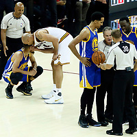 09 June 2017: Cleveland Cavaliers forward Richard Jefferson (24) talks to Golden State Warriors guard Stephen Curry (30) as Golden State Warriors guard Shaun Livingston (34) as Golden State Warriors guard Shaun Livingston (34) and Golden State Warriors guard Stephen Curry (30) talk to referee Mike Callahan (24) and referee John Goble (30) during the Cleveland Cavaliers 137-11 victory over the Golden State Warriors, in game 4 of the 2017 NBA Finals, at  the Quicken Loans Arena, Cleveland, Ohio, USA.
