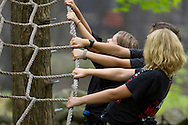 Town of Wallkill, New York - Ninja Warrior campers face challenges at Ring Homestead Camp on July 8, 2014.