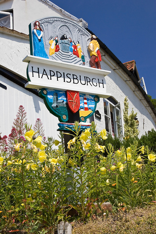 Happisburgh town sign, Norfolk, United Kingdom