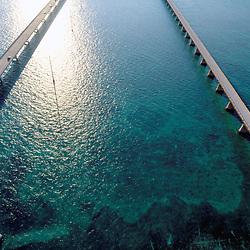 Aerial of the seven mile bridge, florida keys
