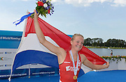 Rotterdam. Netherlands.  Rotterdam. Netherlands.  Gold medalist A Finals, Gold Medalist NED BLW1X. Marieke KEIJSER.,   2016 JWRC, U23 and Non Olympic Regatta. {WRCH2016}  at the Willem-Alexander Baan.   Thursday  25/08/2016 <br /> <br /> [Mandatory Credit; Peter SPURRIER/Intersport Images] Awards Dock 2016 <br /> <br /> [Mandatory Credit; Peter SPURRIER/Intersport Images]