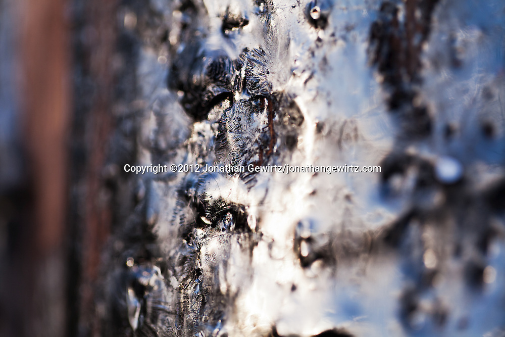 Close-up view of tar or creosote on the surface of a wooden utility pole. WATERMARKS WILL NOT APPEAR ON PRINTS OR LICENSED IMAGES.