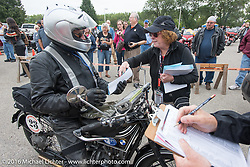 Norm Nelson pulls into the finish riding his 1928 BMW duringStage 7 of the Motorcycle Cannonball Cross-Country Endurance Run, which on this day ran from Sedalia, MO to Junction City, KS., USA. Thursday, September 11, 2014.  Photography ©2014 Michael Lichter.