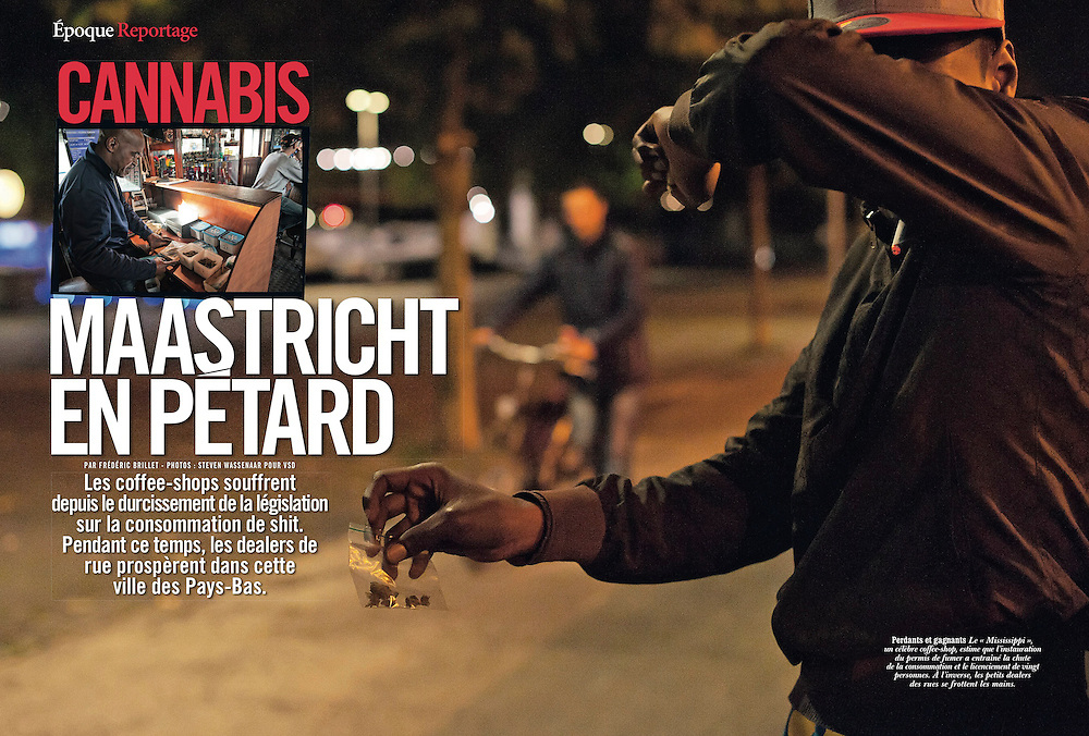 Assignment. A new law ends the tolerated soft drug trade to foreigners in Maastricht, coffee shops go bankrupt, replaced by street traffic. (The Netherlands)