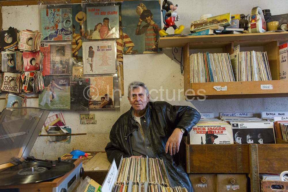The owner of the Record Detective Agency record shop in Palmers Green on the 27th March 2018 in North London, United Kingdom.