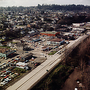 8609-CT02. Aerial view of Oregon City. Highway 99 from 14th. St. to 10th St. ca 1967.