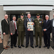 23/10/2015       <br /> Members of the Defence Forces were in Abbeyfeale today to present a handmade Tricolour and a copy of the Proclamation of the Irish Republic to students of the town's two primary schools.<br /> <br /> St Marys Boys National School and Scoil Mháthair Dé are among 3,000 schools nationally and 152 Limerick primary schools to receive the presentation as part of initiatives to mark the centenary of the 1916 Rising.<br /> <br /> Councillor Liam Galvin, Mayor of the City and County of Limerick joined pupils and teachers for today's presentation ceremony, which saw representatives of the Defences Forces raise the flag and read the Proclamation. <br /> <br />  Attending the ceremony at St. Marys Boys National School were, Eileen O'Brien, St. Marys Board, Damian Brady, Limerick City and County Co-Ordinator 2016, Sean Woulfe, Principal, Private Ciara Quinn, Mayor of Limerick Cllr. Liam Galvin, Sergeant James Reddan, Con Daly, Chairman Of The Board St. Marys BNS and Fr. John O'Shea. Picture: Alan Place.