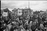 H-Block Protest To British Embassy.  (N86)..1981..18.07.1981..07.18.1981..18th July 1981..A protest march to demonstrate against the H-Blocks in Northern Ireland was held today in Dublin. After the death of several hunger strikers in the H-Blocks feelings were running very high. The protest march was to proceed to the British Embassy in Ballsbridge...The march consisting predominately of young men is pictured progressing through Ballsbridge.
