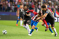 Atletico de Madrid's player Fernando Torres and Bayern Munich's player David Alaba and Javi Martinez during match of UEFA Champions League at Vicente Calderon Stadium in Madrid. September 28, Spain. 2016. (ALTERPHOTOS/BorjaB.Hojas)