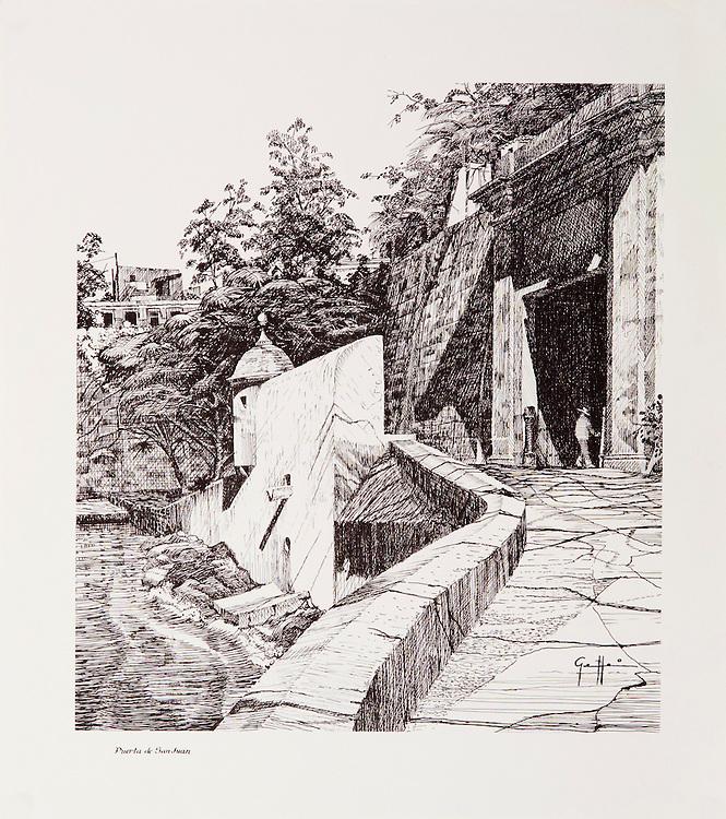 "Cat. #13 - Lithographic print of Pen and Ink drawing of the entrance to the old city of San Juan seen seen from the ramp that leads up to the main gate of the city. This print is part of a set of three views of the city's entrance printed on pebbled, light weight stock.<br /> Paper size is 11 1/8 x 12 1/2"". Image size is approximately 9 x 10 1/2"" <br /> Cat. #13 - Impresión litográfica de un dibujo a plumilla de la entrada a la antigua ciudad de San Juan visto visto desde la rampa que conduce a la puerta principal de la ciudad. Esta impresión es parte de un conjunto de tres vistas distintas de la entrada de la ciudad impresa en papel liviano con textura liviana.<br /> Tamaño del papel es 11 1/8 x 12 1/2"". Tamaño de la imagen es aproximadamente 9 x 10 1/5"""