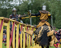 jousting and hand to hand combat thrilled the massive crowds at the medieval experience weekend held at Linlithgow Palace.<br /> <br /> © Dave Johnston/ EEm