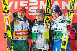 16.12.2017, Gross Titlis Schanze, Engelberg, SUI, FIS Weltcup Ski Sprung, Engelberg, im Bild Richard Freitag (GER, 2. Platz), Sieger Anders Fannemel (NOR), Kamil Stoch (POL, 3. Platz) // 2nd placed Richard Freitag of Germany, Winner Anders Fannemel of Norway, 3rd placed Kamil Stoch of Poland during Mens FIS Skijumping World Cup at the Gross Titlis Schanze in Engelberg, Switzerland on 2017/12/16. EXPA Pictures © 2017, PhotoCredit: EXPA/JFK