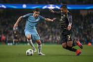 Jesús Navas (Manchester City) is shadowed by Emilio Izaguirre (Celtic) during the Champions League match between Manchester City and Celtic at the Etihad Stadium, Manchester, England on 6 December 2016. Photo by Mark P Doherty.