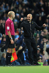 3rd December 2017 - Premier League - Manchester City v West Ham United - Man City manager Pep Guardiola celebrates their 2nd goal - Photo: Simon Stacpoole / Offside.