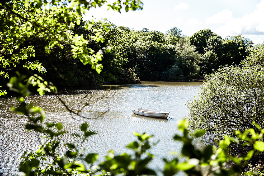 View of a boat through the trees at Queens Valley Reservoir, Jersey, a popular place with tourists for its woodland walking paths